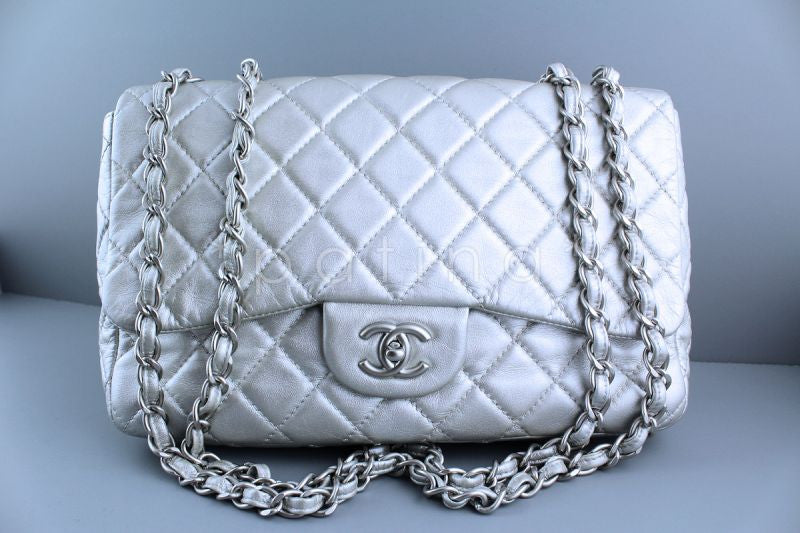 Chanel Silver Lambskin Jumbo 2.55 Quilted Classic Flap Bag