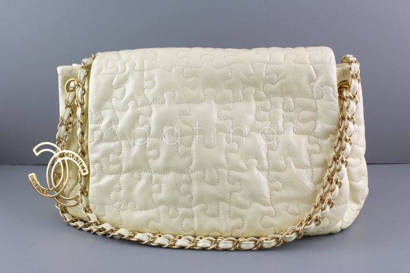 Chanel Ivory Jumbo Patent Puzzle Flap CC Charm Bag