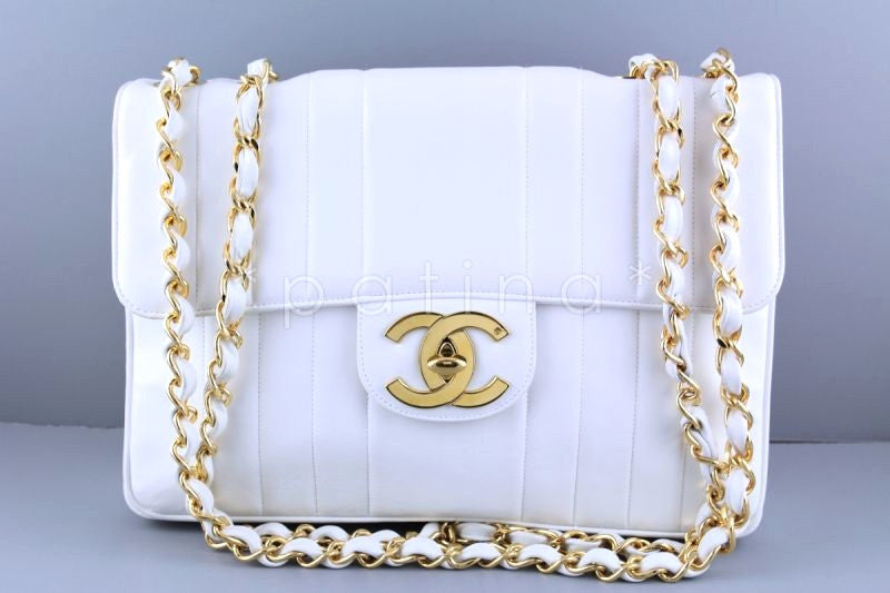 Chanel White Vintage Mademoiselle Classic Jumbo Flap Bag - Boutique Patina  - 1