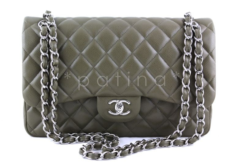 Chanel Olive Green Caviar Jumbo 2.55 Classic Double Flap Bag