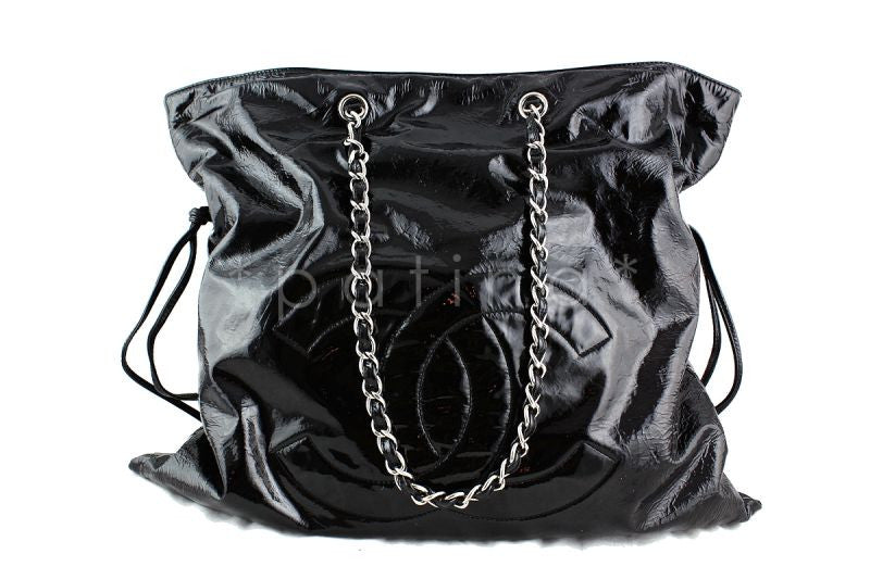 Chanel Black Patent Bon Bons Cabas Hobo Tote Bag