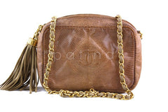 Chanel Camel Small Lizard Classic Quilted Camera Case Bag - Boutique Patina  - 1