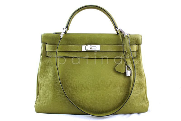 Hermes Chartreuse Clemence 40cm Kelly Bag
