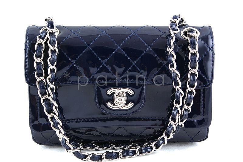 Chanel Navy Patent Lambskin Classic Extended Double Flap Bag
