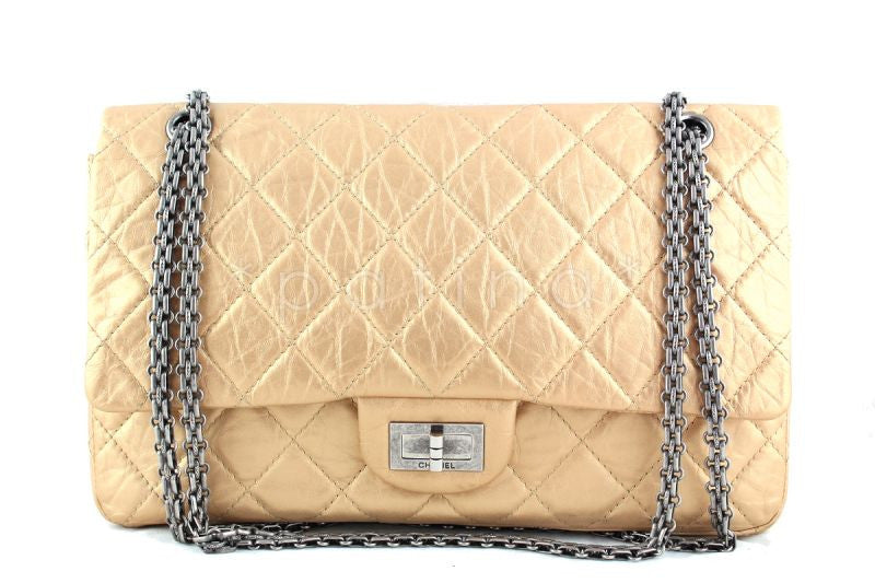 Chanel Pale Gold 12in. 227 Reissue 2.55 Jumbo Classic Double Flap Bag - Boutique Patina  - 1