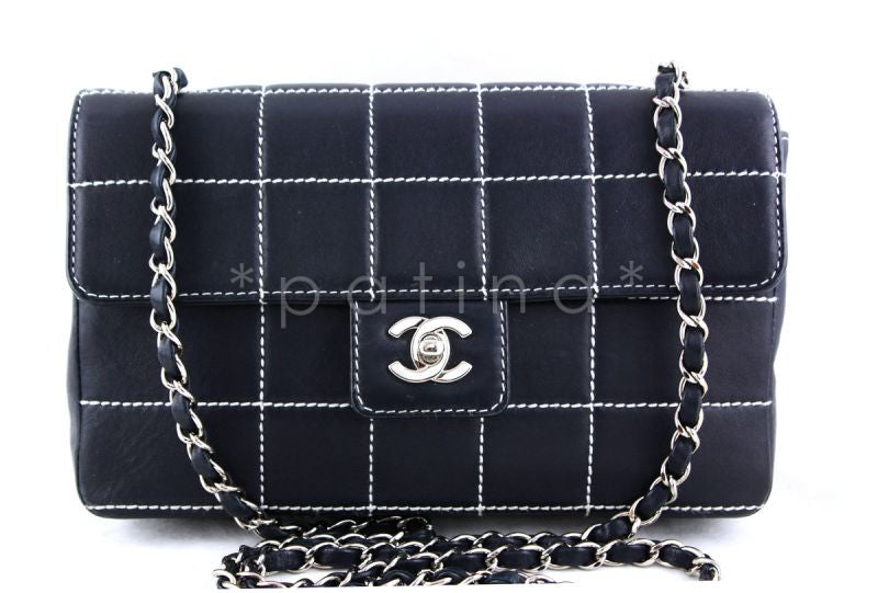 Chanel Navy 10in. Quilted Contrast Stitch Classic Flap Bag