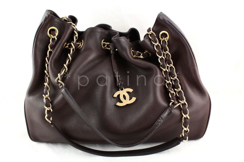 Chanel Chocolate Brown Soft Textured CC Logo Drawstring Tote Shopper Bag