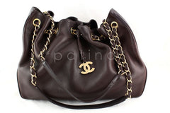 Chanel Chocolate Brown Soft Textured CC Logo Drawstring Tote Shopper Bag - Boutique Patina  - 1