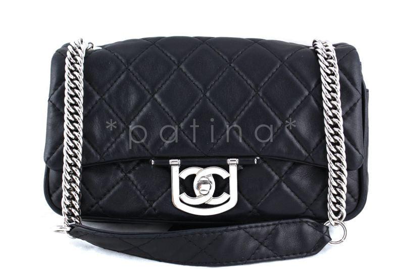 Chanel Black Luxe Icon Classic Flap Chunky Chain Flap Bag