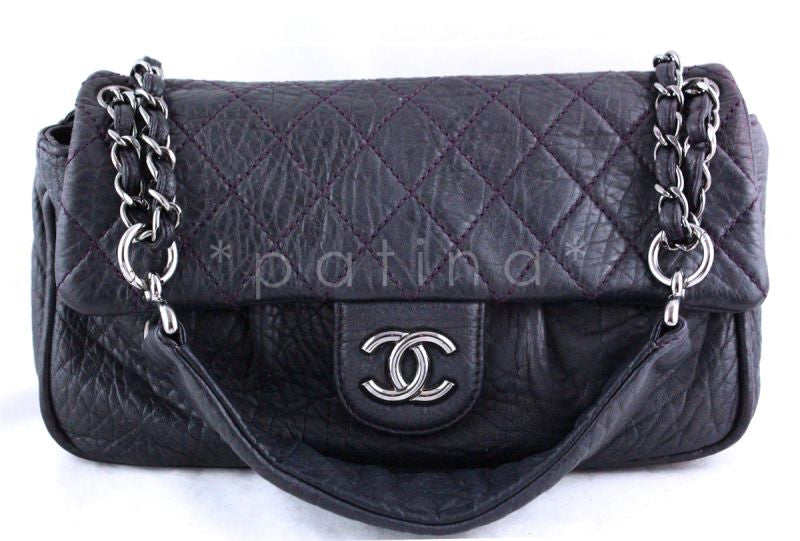 Chanel Dark Purple Jumbo Pebbled Classic Flap Bag