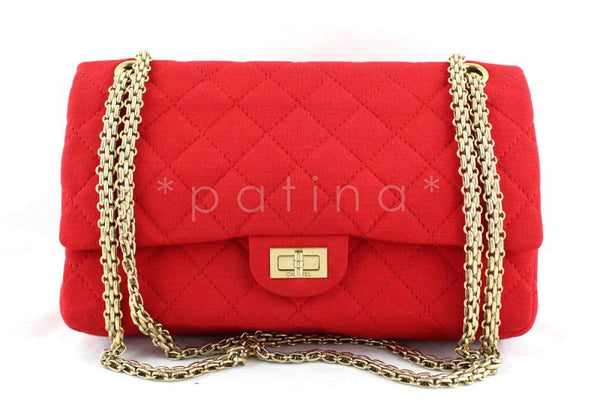 Chanel Red Quilted Canvas 2.55 Reissue Classic Double Flap 226 Bag
