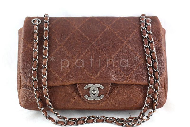 Chanel Camel Outdoor Ligne Distressed Caviar Jumbo Classic Flap Bag