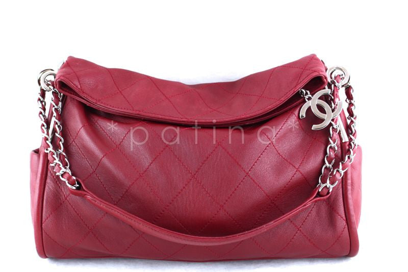 Chanel 13in. Dark Red Lambskin Quilted Ultimate Soft Flap Bag