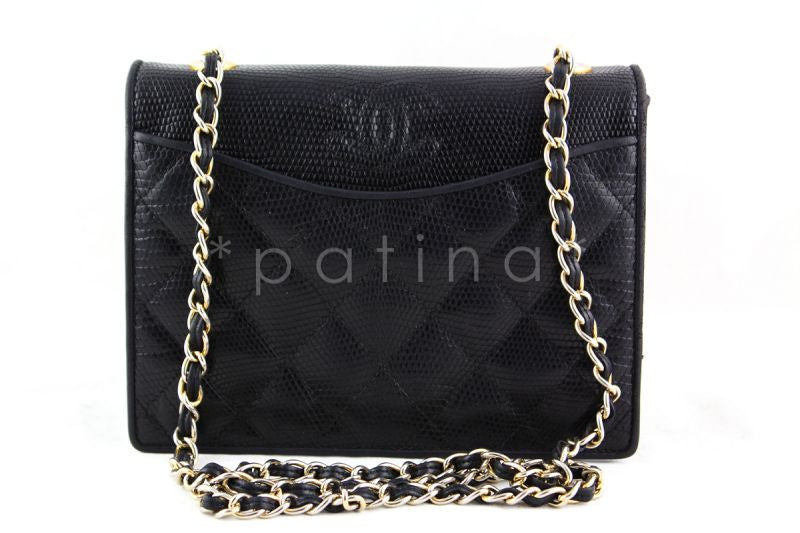 Chanel Black Lizard Quilted Vintage Classic Timeless Flap Bag
