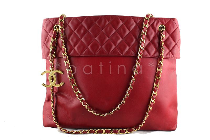 Chanel Red Classic Logo Charm Quilted Top Shopper Tote Bag