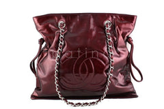 Chanel Bourdeaux Red Patent Bon Bons Hobo Tote Bag