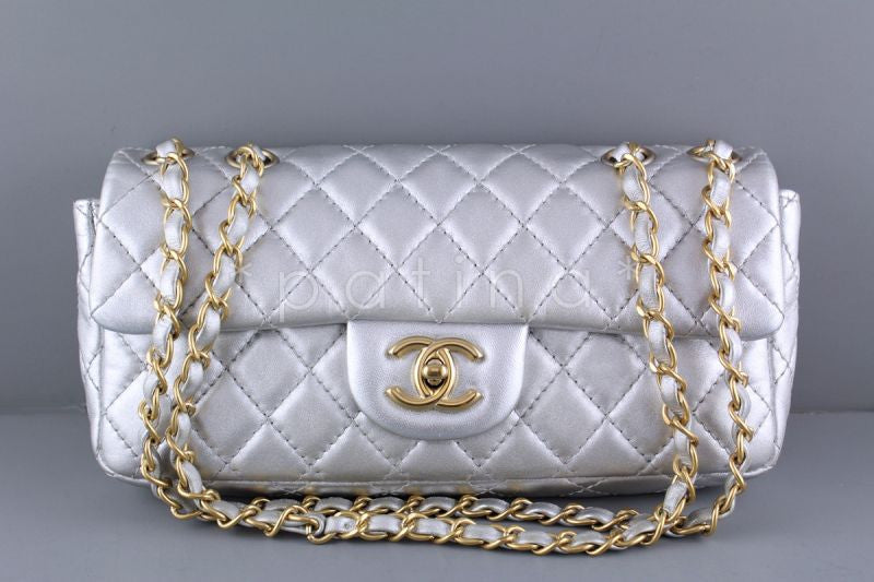 Chanel Silver Lambskin East West Classic 2.55 Shoulder Flap Bag