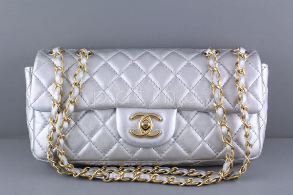 1eaeb2d992f1 Chanel Silver Lambskin East West Classic 2.55 Shoulder Flap Bag