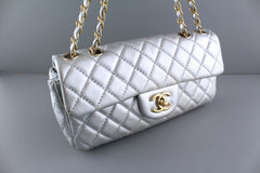 Chanel Silver Lambskin East West Classic 2.55 Shoulder Flap Bag - Boutique Patina  - 2