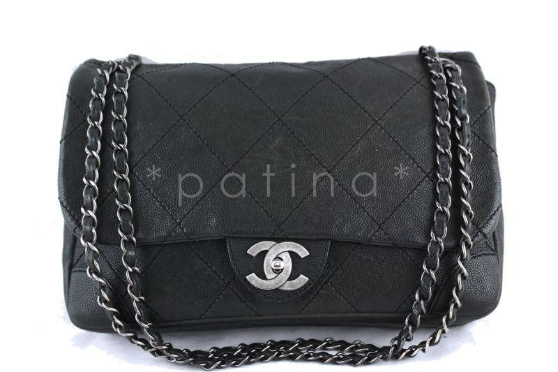 Chanel Jumbo Charcoal Gray Outdoor Ligne Distressed Caviar Classic Flap Bag