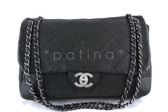 Chanel Jumbo Charcoal Gray Outdoor Ligne Distressed Caviar Classic Flap Bag - Boutique Patina  - 1