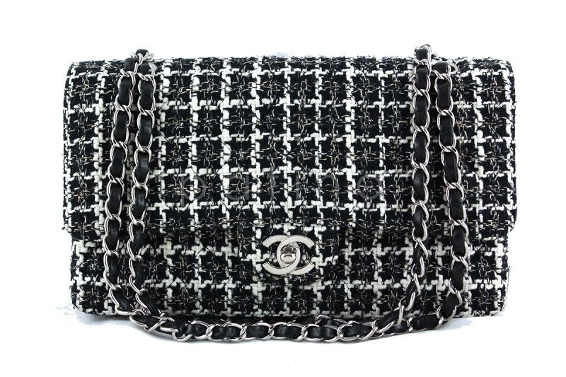 Chanel Black Tweed Medium Classic 2.55 Flap Bag