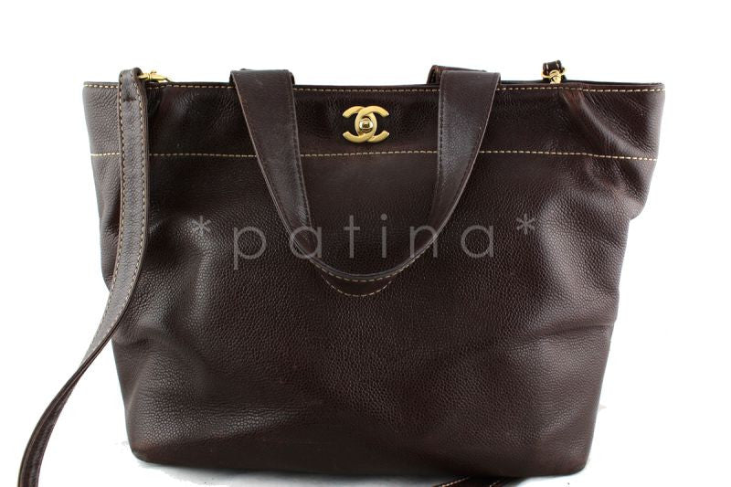 Chanel Brown Caviar Messenger Tote Cerf Brief Bag