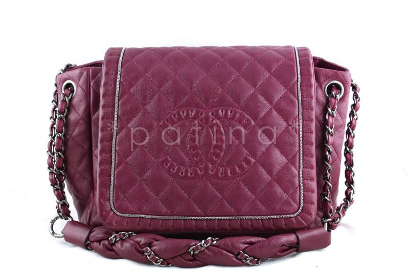 Chanel Dark Pink Istanbul Braided Chain Jumbo Flap Bag - Boutique Patina  - 1