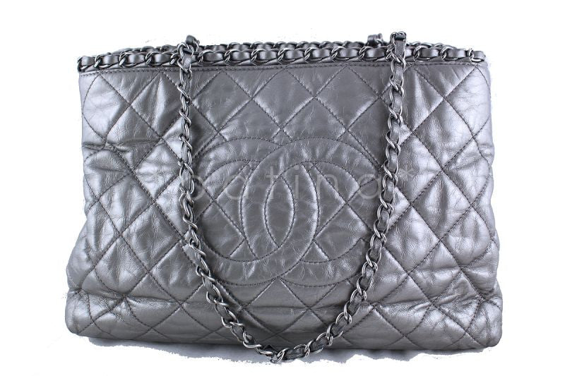 Chanel Silver/Pewter Quilted Timeless Chain Around Grand Shopping Tote GST Bag
