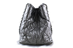 Chanel Silver/Pewter Quilted Timeless Chain Around Grand Shopping Tote GST Bag - Boutique Patina  - 2