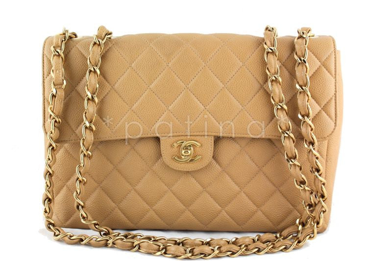 Chanel Beige Caviar Jumbo Quilted Classic 2.55 Flap Bag