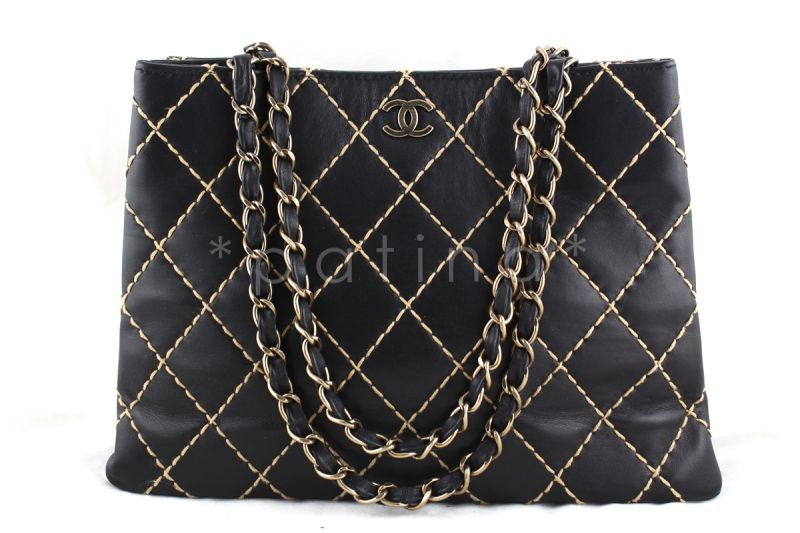 Chanel Black Classic Contrast Stitch Quilted Shopper Tote with CC and Woven Chain Bag