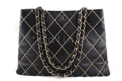 Chanel Black Classic Contrast Stitch Quilted Shopper Tote with CC and Woven Chain Bag - Boutique Patina  - 1