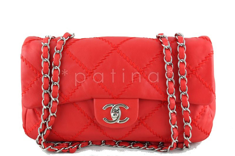 Chanel 10in. Vermillion Red 10in. Soft Ultimate Stitch Classic Flap Bag - Boutique Patina  - 1
