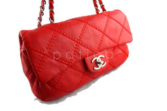 Chanel 10in. Vermillion Red 10in. Soft Ultimate Stitch Classic Flap Bag - Boutique Patina  - 2