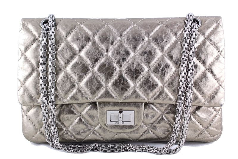 Chanel Metallic Pewter 12in. 227 Reissue 2.55 Jumbo Classic Double Flap Bag