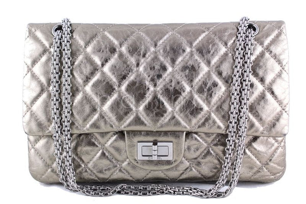 34f422af88f5d8 Chanel Metallic Pewter 12in. 227 Reissue 2.55 Jumbo Classic Double Flap Bag