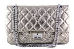 Chanel Metallic Pewter 12in. 227 Reissue 2.55 Jumbo Classic Double Flap Bag - Boutique Patina  - 1