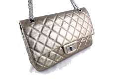Chanel Metallic Pewter 12in. 227 Reissue 2.55 Jumbo Classic Double Flap Bag - Boutique Patina  - 2