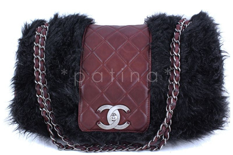 Chanel 16in. Burgundy Maxi XL Jumbo Quilted Classic Fur Vested Fantasy Flap Bag