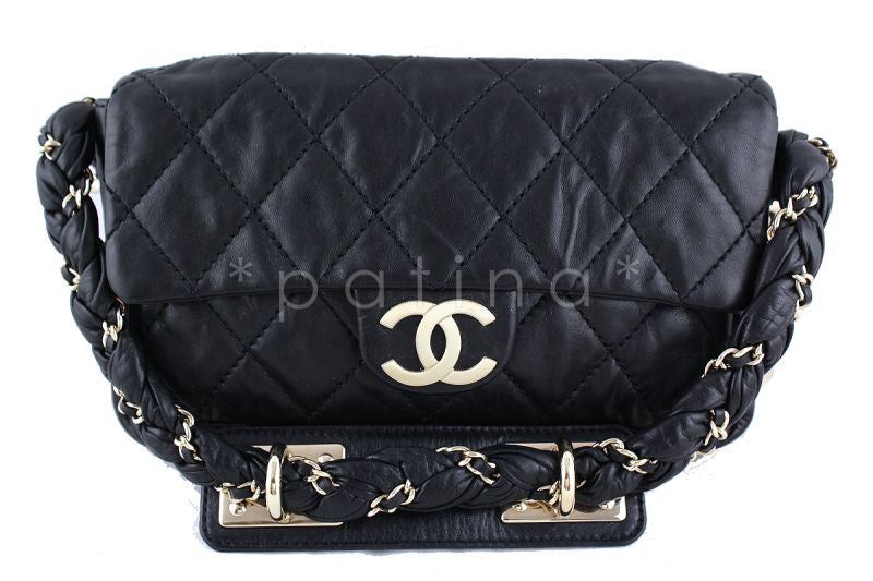 Chanel 10in. Black Lambskin Lady Braid Flap Bag