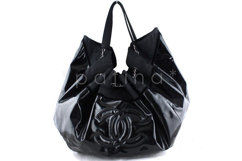 Chanel Black Patent Stretch Spirit XL Cabas Hobo Tote Bag