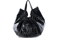 Chanel Black Patent Stretch Spirit XL Cabas Hobo Tote Bag - Boutique Patina  - 1