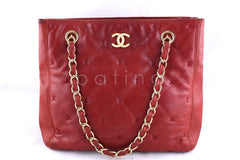 Chanel Red Lambskin Quilted Petite Sized Shopper Tote Bag - Boutique Patina  - 1
