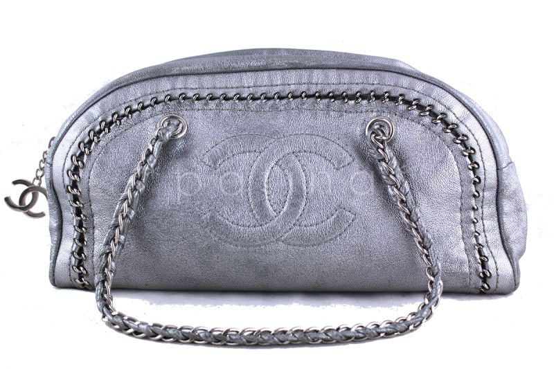 Chanel Silver Distressed Luxury Ligne Bowler Bag