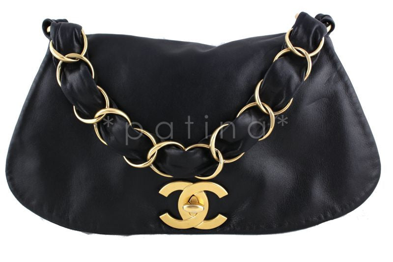 "Chanel Black ""Olson"" Flap Ultra Soft w Oversized CCs Bag - Boutique Patina  - 1"