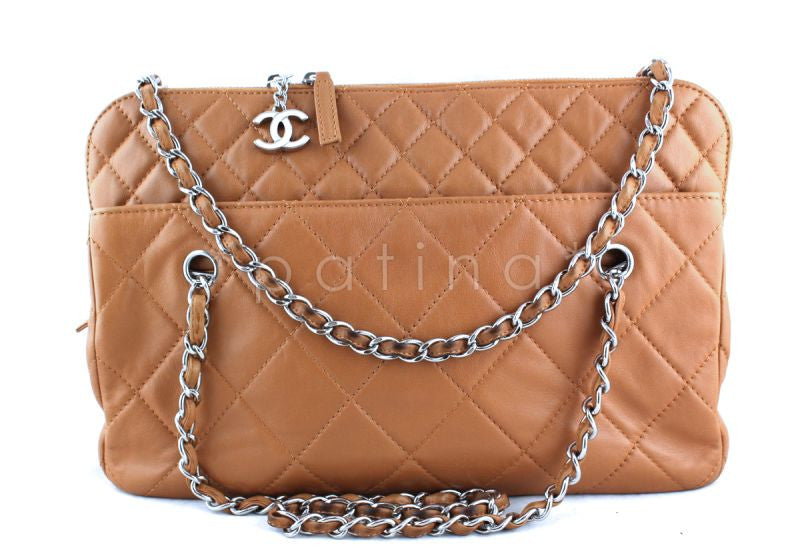 Chanel Camel Beige Classic Quilted Camera Business Tote CC Charm Bag