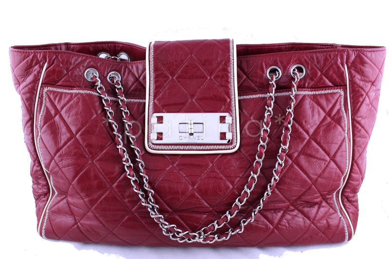 d005c9ed2311 Chanel Red East West Quilted Giant Reissue Lock XL Tote Bag