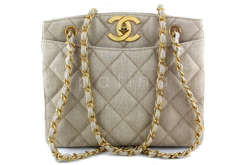 Chanel Taupe Beige Vintage Oversized CC Clasp Shopper Tote Bag - Boutique Patina  - 1