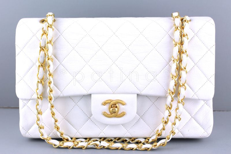 Chanel White Lambskin Medium-Large Classic 2.55 Double Flap Bag - Boutique Patina  - 1